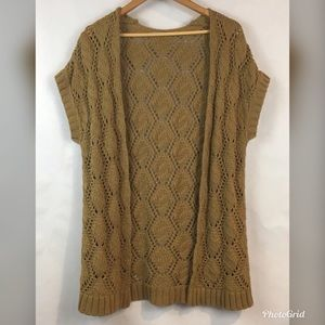 Rubbish Open Cardigan Brown Loose Knit M
